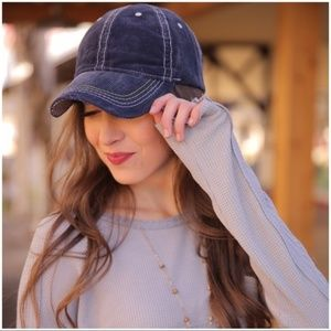 Navy Distressed Corduroy Baseball Cap